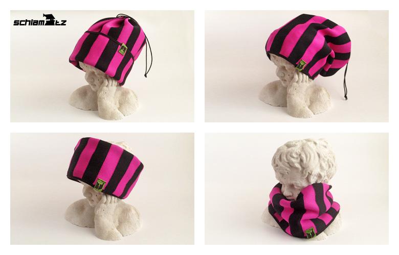 Neopren schlamuetz in Pink und Schwarz Gr S