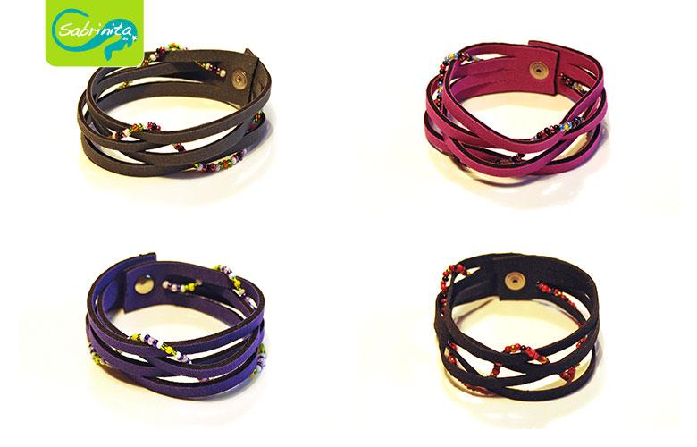 Neopren Flechtarmbänder in Grau, Pink, Lila und Schwarz