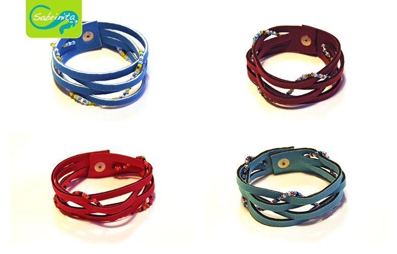 Neopren Flechtarmbänder in Hellblau, Rot, Türkis und Weinrot