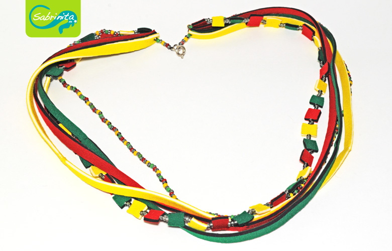 Neoprenkette Collier – in Rot, Gelb und Grün