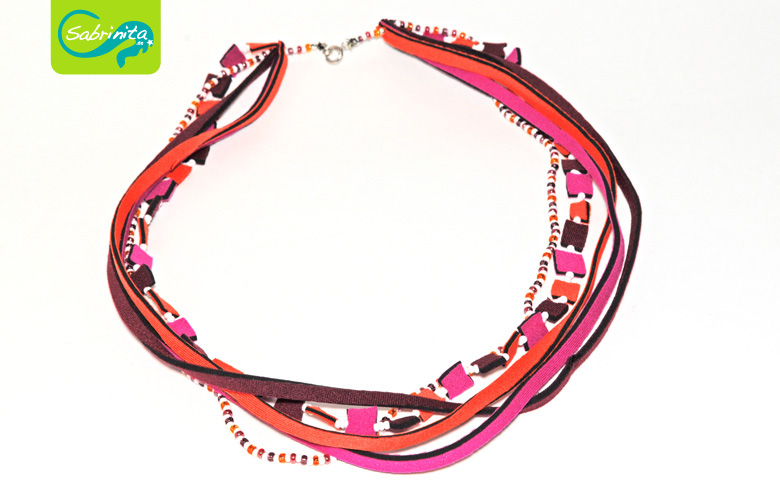 Neoprenkette Collier – in Weinrot, Pink und Orange