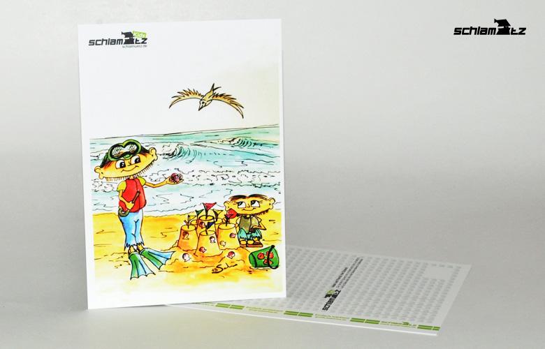Postkarte A6 – Maxl und Franzi: Am Strand