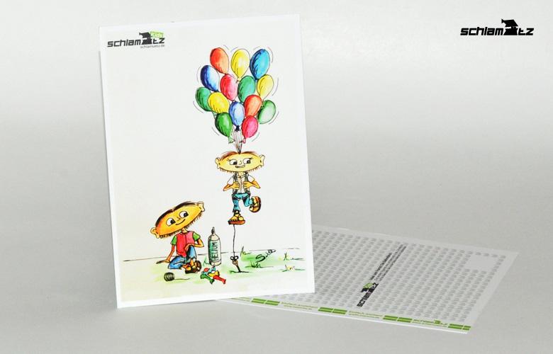 Postkarte A6 – Maxl und Franzi: Die Ballonfahrt