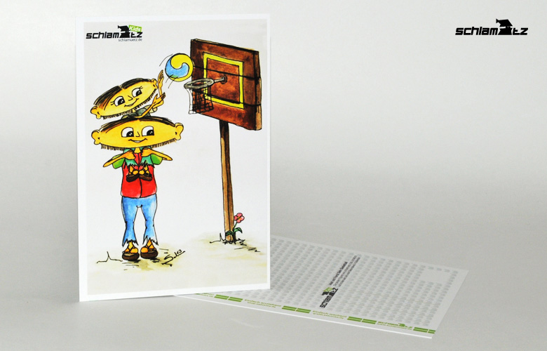 Postkarte A6 – Maxl und Franzi: Beim Basketball