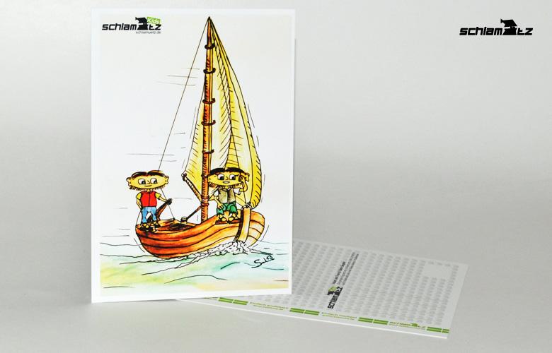 Postkarte A6 – Maxl und Franzi: Beim segeln
