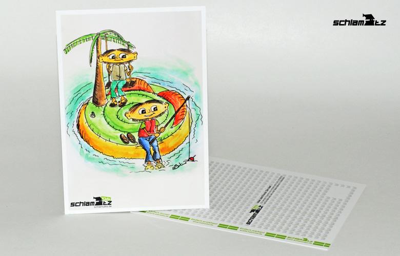 Postkarte A6 – Maxl und Franzi: Die Insel