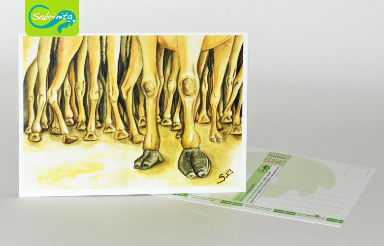 Postkarte A6 – Kunstdruck: Ein Kamel kommt selten allein