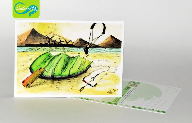 Postkarte A6 – Kunstdruck: Kite am Strand