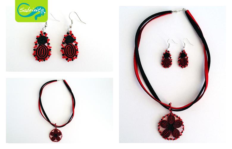 Trachtenset Kette und Ohrringel - Bänder mit Blume aus Neopren in Schwarz und Rot