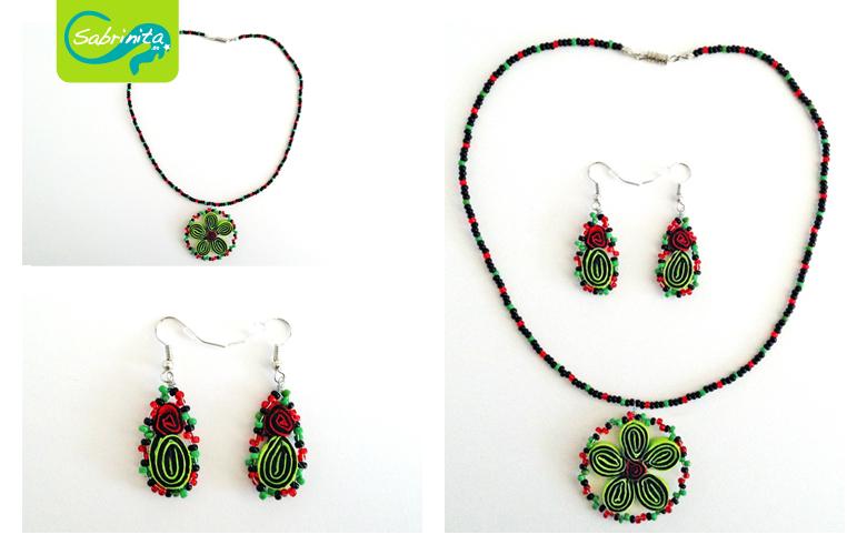 Trachtenset Kette und Ohrringel - Perlen mit Blume aus Neopren in Rot und Apfelgrün