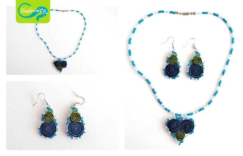 Trachtenset Kette und Ohrringel - Perlen mit Herz aus Neopren in Aqua und Apfelgrün