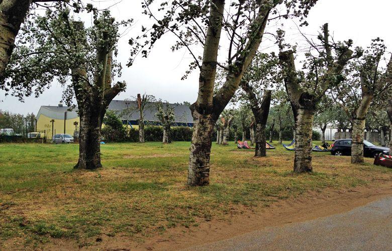 Blick zum ersten Parkplatz in Grado