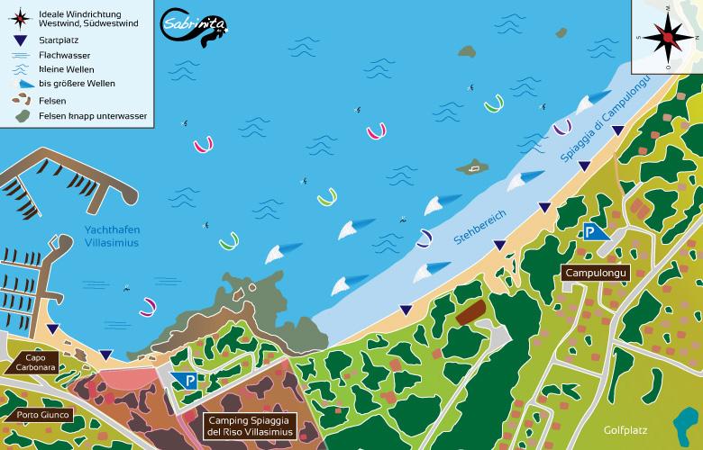Kitespot Beschreibung Campulongu im Süd-Osten von Sardinien