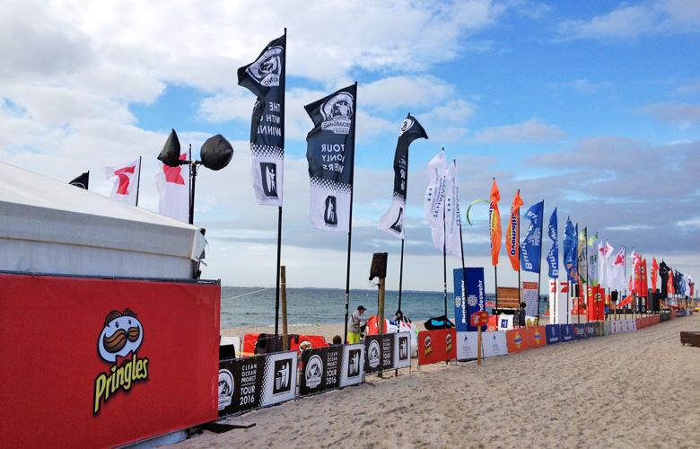 Eventgelände am Strand beim Kitesurfworldcup auf Fehmarn 2016