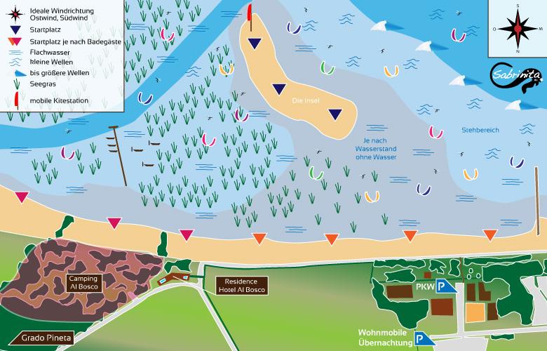 Kitespot Beschreibung Grado, die Insel in Norditalien