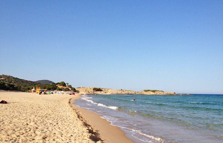 Chia Kitespot auf Sardinien, Blick nach Links in der Bucht