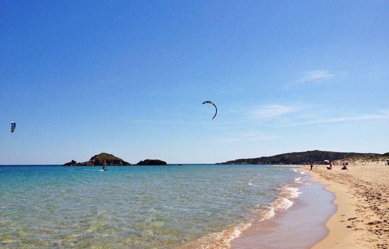 Chia Kitespot auf Sardinien, Blick nach Rechts in der Bucht