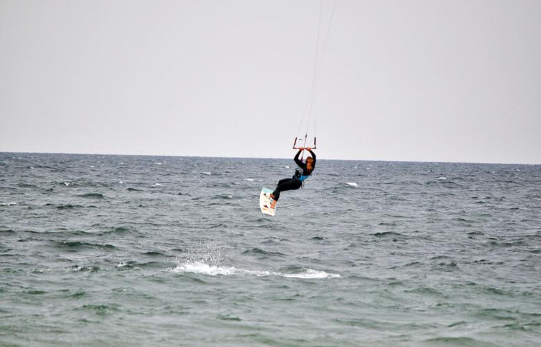 Super Kitesession am Püttsee Strand auf Fehmarn, Frontroll