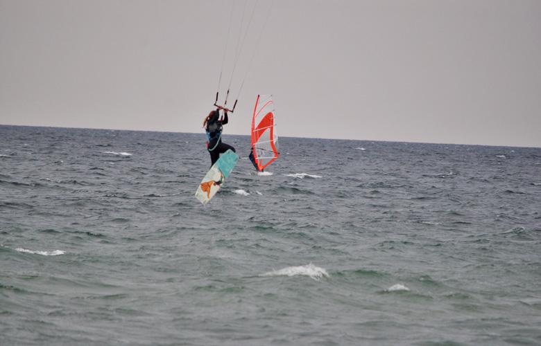 Super Kitesession am Püttsee Strand auf Fehmarn, bissl Springen