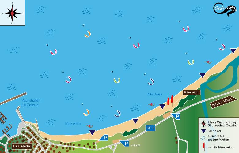 Kitespot Beschreibung La Caletta im Osten von Sardinien