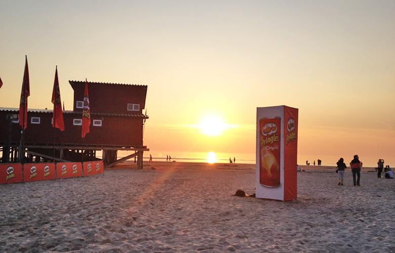 Sonnenuntergang nach dem ersten Tag vom Kitesurfworldcup in St Peter Ording