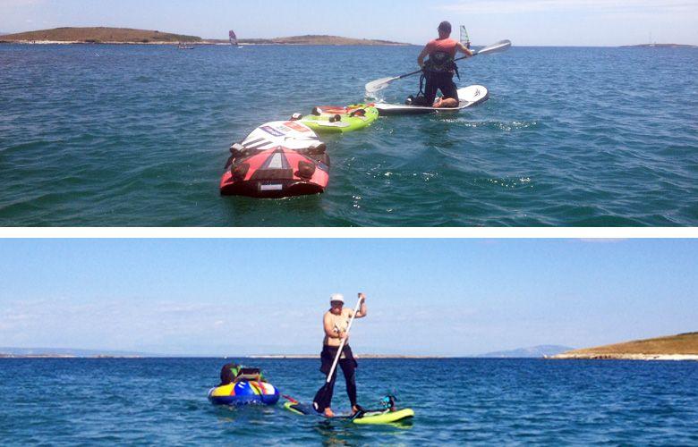 Überfahrt zur zweiten Insel mit Kitegepäck in Premantura, Kroatien