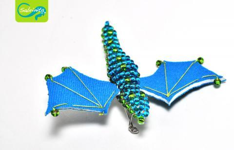 Neopren Brosche – Drachenbrosche Blau Grün
