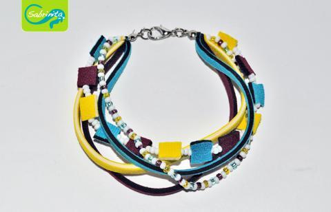 Neopren Armband – Mix in Gelb, Blau und Weinrot