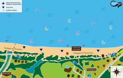 Karte Kitespot südlich von Cardedu auf Sardinien, erstellt von grafik.sabrinita.de