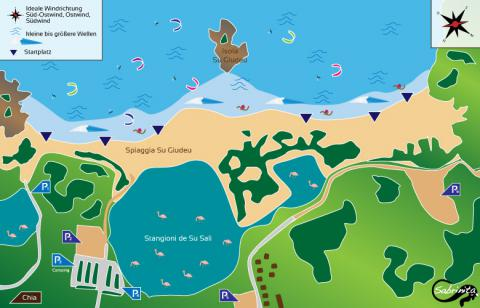Chia Kitespot auf Sardinien, Karte von grafik.sabrinita.de