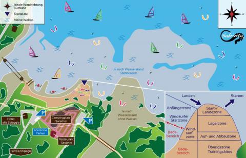 Kitespot Beschreibung Lago di Santa Croce in den Dolomiten bei Belluno