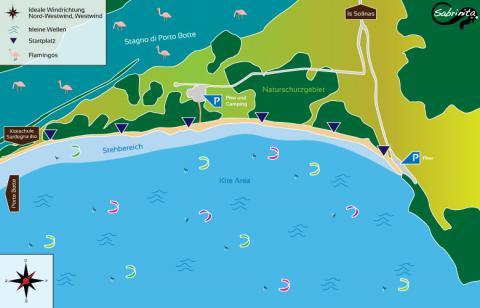 Kitespot bei Is Solinas, süd-östlich von Porto Botte - Kitesurfen Sardinien