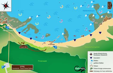 Marina delle Rose Kitespot auf Sardinien, Karte von grafik.sabrinita.de