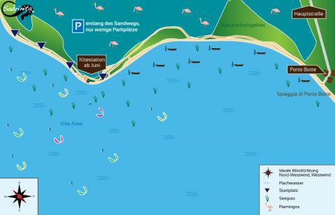 Kitespot Porto Botte auf Sardinien, gezeichnet von grafik.sabrinita.de