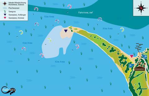 Punta Trettu Kitespot auf Sardinien, Karte von sabrinita.de