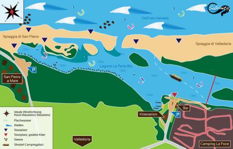 Karte vom Kitespot in Valledoria auf Sardinien, erstellt von grafik.sabrinita.de - Kitesurfen Sardinien
