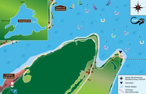 Kitespot Beschreibung für die Zwergerlinsel am Walchensee